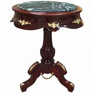 Table Ronde En Marbre : table ronde de style empire bois acajou bronzes et marbre vert ~ Mglfilm.com Idées de Décoration