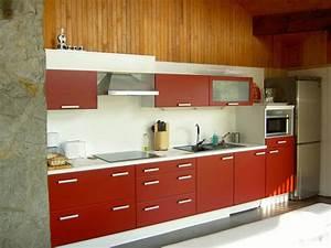 cuisine rouge plan de travail blanc With plan de travail cuisine rouge