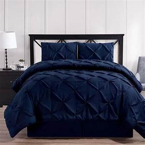 Luxury, Soft, Pinch, Pleated, Comforter, Set, In, Navy, Blue