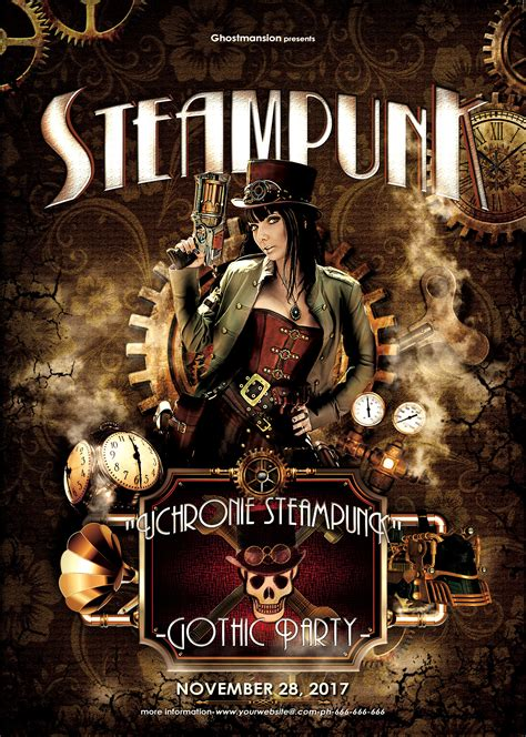 Steampunk Party Poster Template on Behance