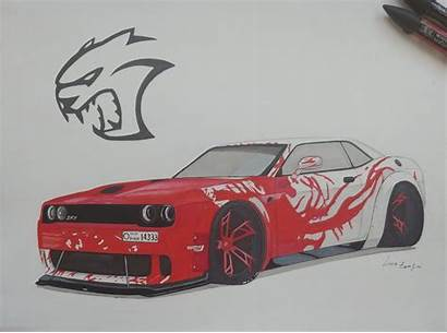 Dodge Challenger Hellcat Draw Drawings Liberty Walk