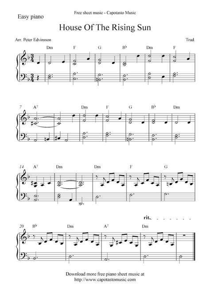 Piano sheet music piano sheetmusic piano solo piano sonata piano song piano store piano tab piano tabs piano violin piano vocal piano voice popular piano popular sheet print sheet printable sheet printable sheet music. Free piano sheet music score, House Of The Rising Sun ...
