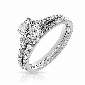 Bridal cz solitaire engagement wedding ring set for Wedding ring engagement ring set