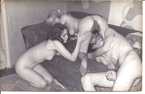 1960s Vintage Bw Threesome Fmf On Floor And Sofa 9 Pics