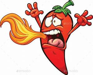 Spicy Chili Pepper Breathing Fire  Vector Clip Art