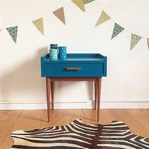 Table De Chevet Bleu : chambre gris et vert 13 meuble table de chevet vintage bleu p233trole table de evtod ~ Preciouscoupons.com Idées de Décoration