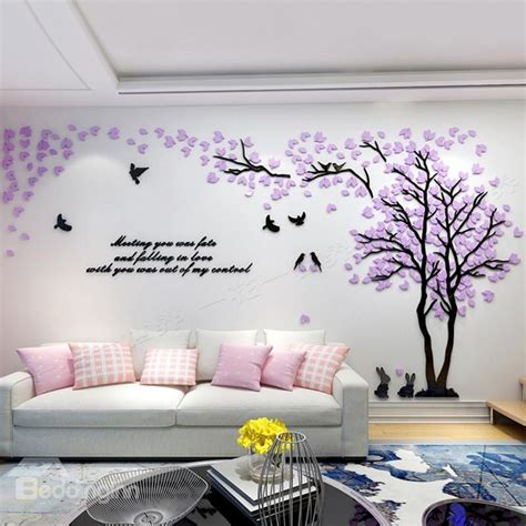 wall decor adhesive trees and birds pattern acrylic eco friendly waterproof