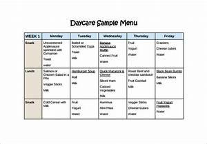 daycare menu templates 11 free printablepdf documents With daycare food menu template