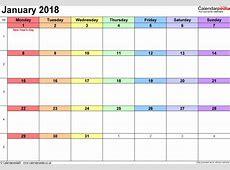 Calendar January 2018 UK, Bank Holidays, ExcelPDFWord