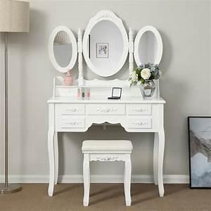 Coiffeuse Moderne Avec Miroir : songmics coiffeuse table de maquillage grande commode avec 3 miroirs rabattables 7 tiroirs et ~ Farleysfitness.com Idées de Décoration