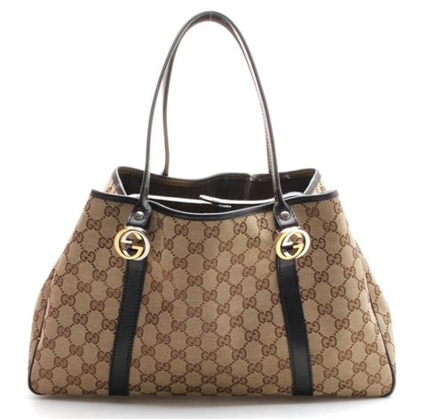 gucci brown monogram canvas black leather tote bag ebay