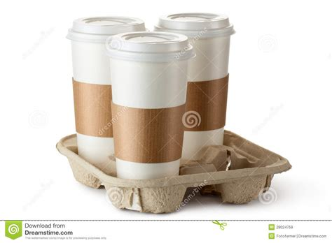 Three Take out Coffee In Holder Royalty Free Stock Images   Image: 28024759