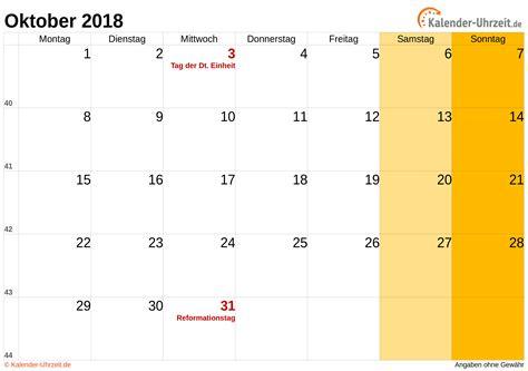 oktober  kalender