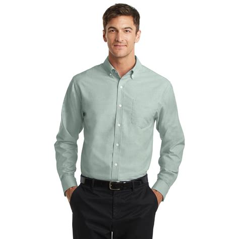 black cargo mens port authority s658 superpro oxford shirt green