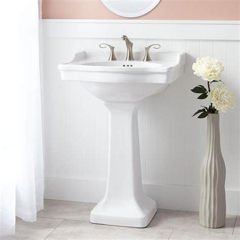 how to attach a pedestal sink to the wall cierra porcelain pedestal sink bathroom