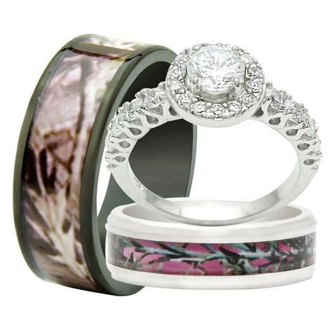 camo wedding ring sets his and hers his and hers 3pcs titanium camo 925 sterling silver engagement wedding rings ebay