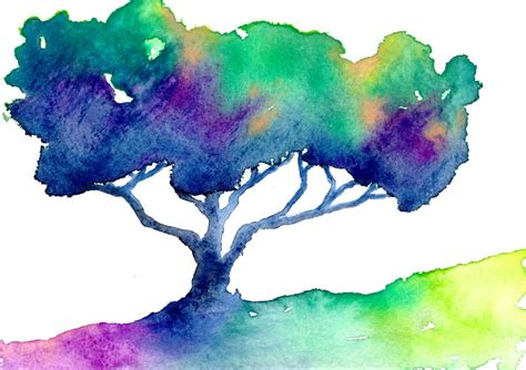 watercolor painting rainbow hue tree modern contemporary