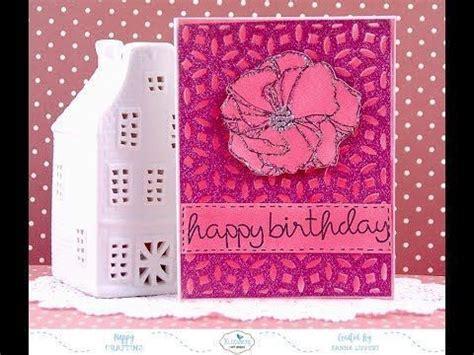 pink monochromatic glitter background card tutorial