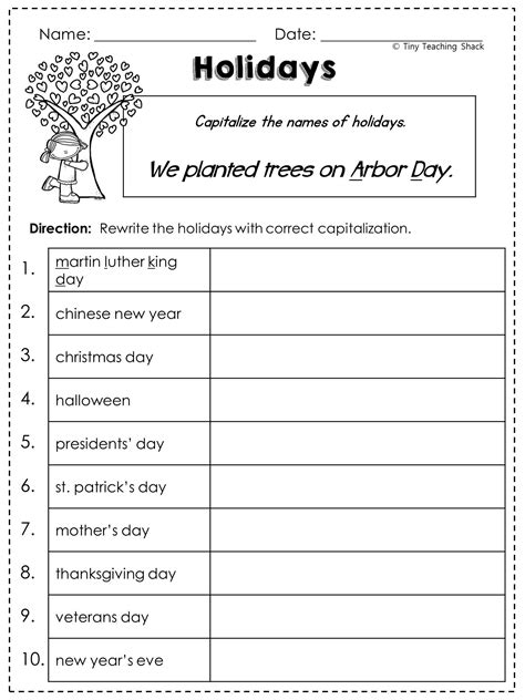 free capitalization worksheet teaching nouns pinterest