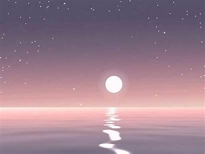 Night Quiet Dribbble Star Moon Ocean Stars