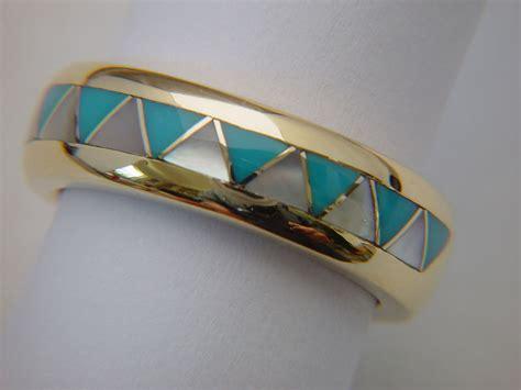 traditional navajo style wedding ring 14 karat gold