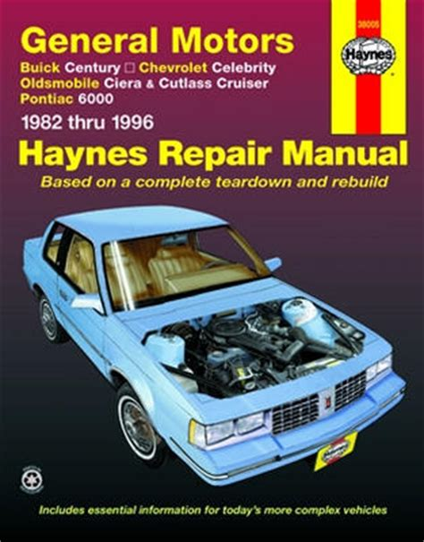 car owners manuals free downloads 1992 buick century user handbook buick century chevrolet celebrity olds ciera cutlass cruiser and pontiac 6000 haynes repair