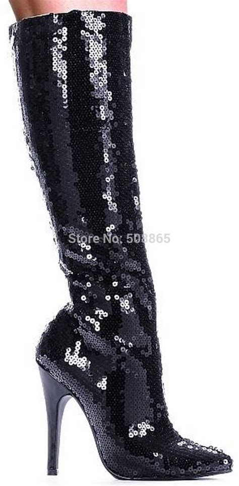 designer knee high boots new 12cm high heels black glitter designer knee