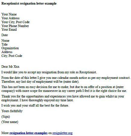 receptionist resignation letter  resignletterorg