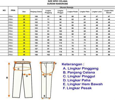 standar ukuran kemeja dan celana di surewi wardrobe surewiwardrobe surewiwardrobe
