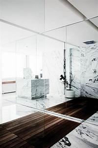 Salle De Bain Grise Et Bois : beaucoup d 39 id es en photos pour la salle de bain en marbre ~ Melissatoandfro.com Idées de Décoration
