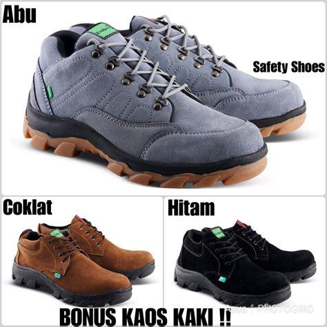 jual sepatu kickers safety low boot kulit suede ujung besi sepatu kerja pria kantor dan lapangan