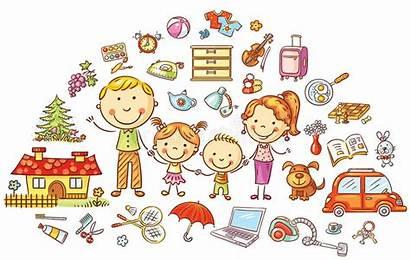 Household Cartoon Familiar Vida Hogar Colorful Famiglia