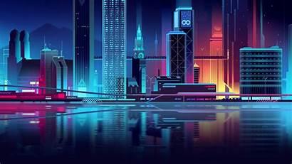 Neon Minimalist Cityscape Futuristic Vector Digital Trystram