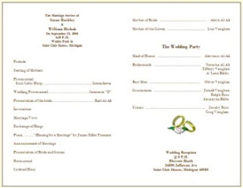 wedding bulletin template wedding collection nowadays wedding program sles wedding program sles info