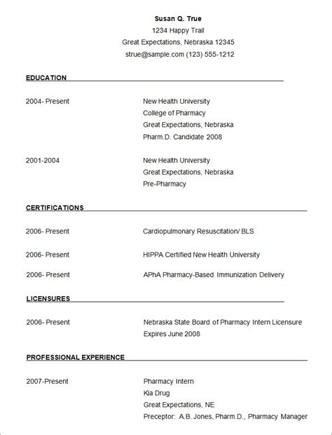 Free Sle Resume Format by 3 4 Microsoft Word Resume Resumename