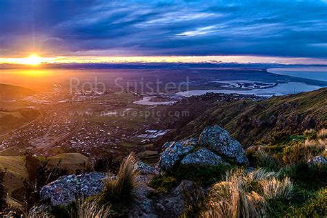 christchurch city  canterbury plains  sunset