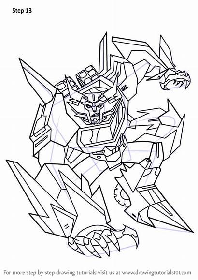 Transformers Draw Steeljaw Coloring Drawing Sideswipe Step