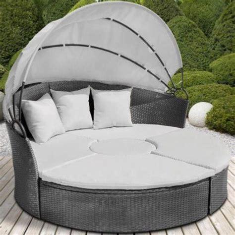 canapé en soldes canape de jardin rond modulable gris en résine tressée