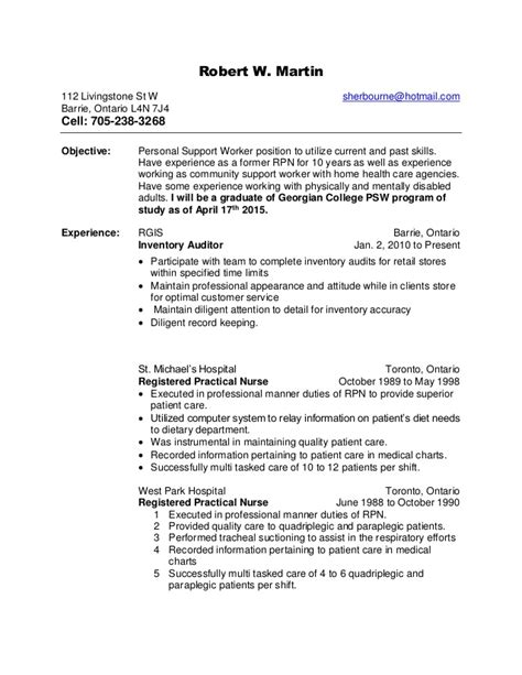 Personal Support Worker Resume Skills by Robert W S Health Care Support Resume Rtf Updated Health Care Su