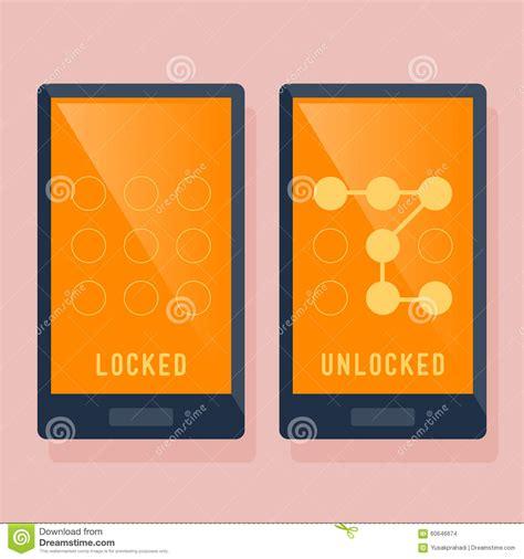 smart phone locked  unlocked swipe icon stock vector