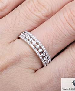 14k gold triple row full diamond eternity band wedding With triple band wedding ring