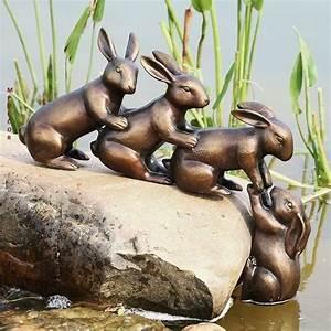 helping, hand, rabbits, garden, sculpture, statue, bunny, friends