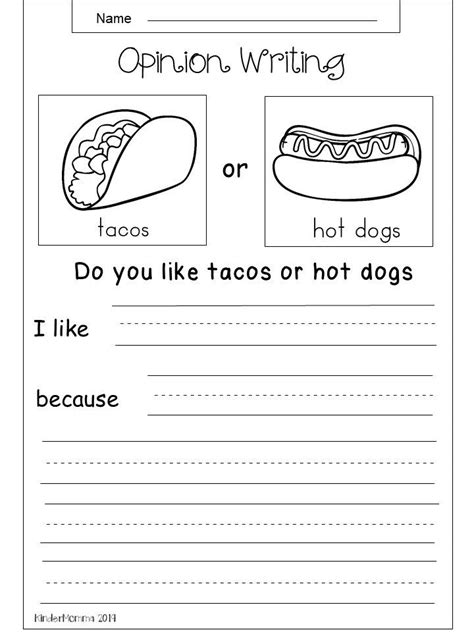 opinion writing printable kindergarten writing