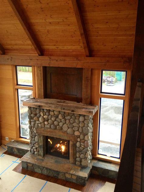 river rock fireplace river rock fireplace living room farmhouse with reclaimed