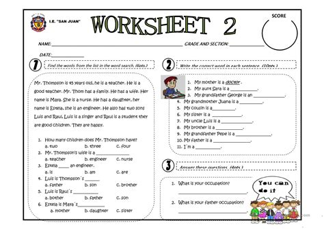 family occupation worksheet  esl printable