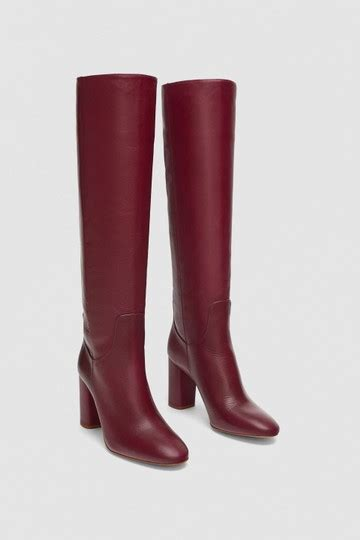 zara red burgundy  slouchy leather tall knee high boots