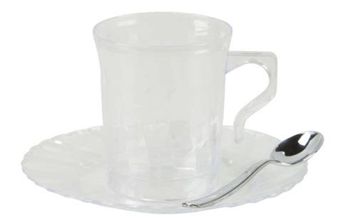 8 Oz. Plastic Clear Flaired Coffee Mugs & 6