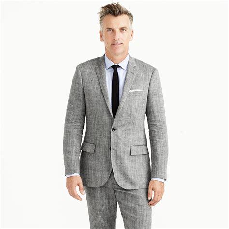 jcrew ludlow suit jacket  herringbone italian linen silk  gray  men lyst