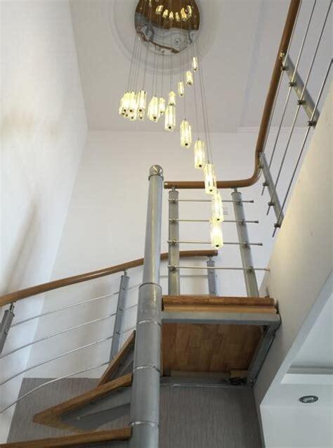 crystal staircase lights rod spiral ceiling light modern creative led loft chandelier living
