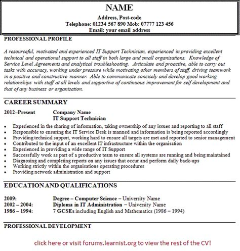 it support technician cv exle forums learnist org